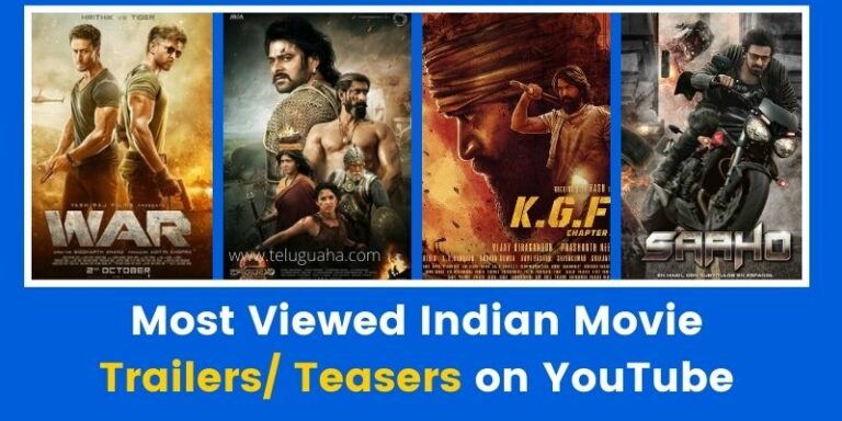 Most Viewed Indian Movie Trailers/ Teasers on YouTube
