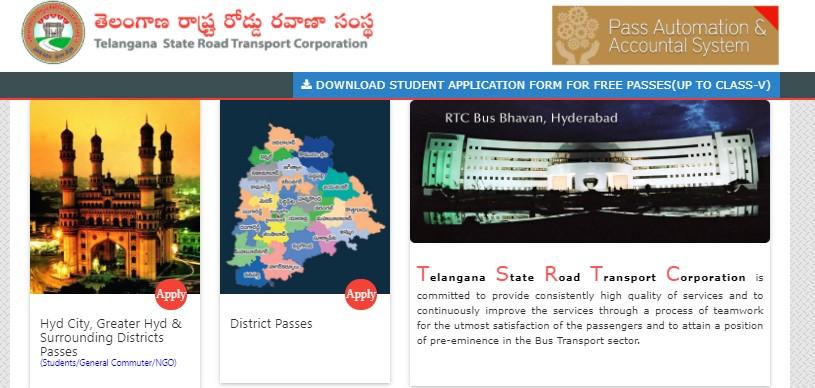 TSRTC Student Bus Pass Apply Online 2021