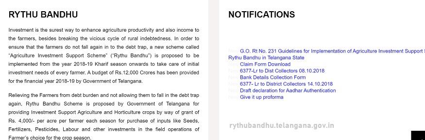 TS Rythu Bandhu Scheme